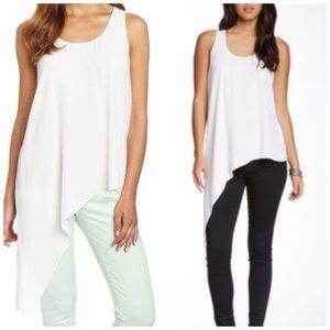 🆕 BARDOT WHITE ASYMMETRICAL SIDE DIP TANK TOP NWT